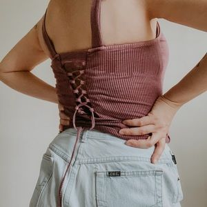 AEO • lace up back dropped ribbed tank